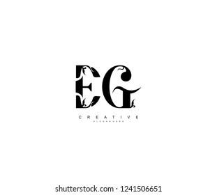 Creative Initial EG Letter Organic Plant Stylish Monogram Logotype