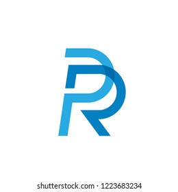 creative Initial letter PR or RP logo template colored blue