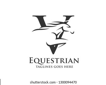 creative initial letter V with abstract running stallion logo vector concept