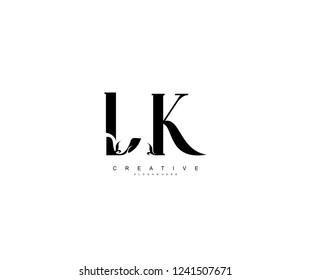 Creative Initial LK Letter Organic Plant Stylish Monogram Logotype