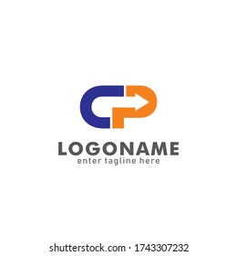Creative initial logo template for the concept of the letter CP concept vector logo. initial letter CP with arrow symbol, business logo, typographic style. for logistic company names, delivery, etc.