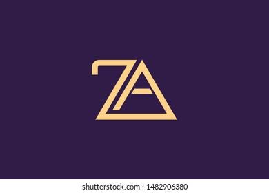 Creative Innovative Initial Letter logo ZA AZ Z A. Minimal luxury Monogram. Professional initial design. Premium Business typeface. Alphabet symbol and sign.
