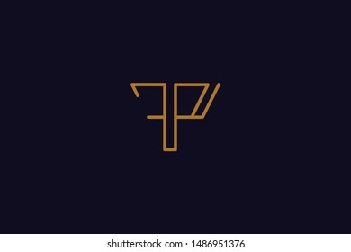 Creative Innovative Initial Letter logo FP PF. Minimal luxury Monogram. Professional initial design. Premium Business typeface. Alphabet symbol and sign.