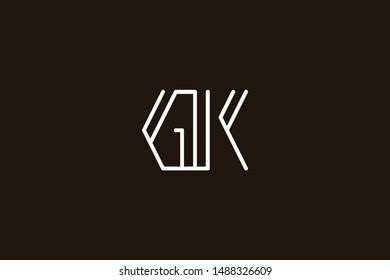 Creative Innovative Initial Letter logo GK KG. Minimal luxury Monogram. Professional initial design. Premium Business typeface. Alphabet symbol and sign.
