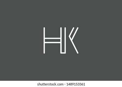 Creative Innovative Initial Letter logo HK KH. Minimal luxury Monogram. Professional initial design. Premium Business typeface. Alphabet symbol and sign.