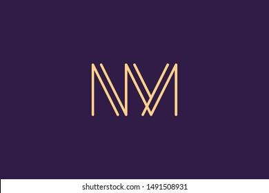 Creative Innovative Initial Letter logo NM MN. Minimal luxury Monogram. Professional initial design. Premium Business typeface. Alphabet symbol and sign.