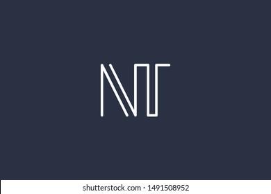 Creative Innovative Initial Letter logo NT TN. Minimal luxury Monogram. Professional initial design. Premium Business typeface. Alphabet symbol and sign.