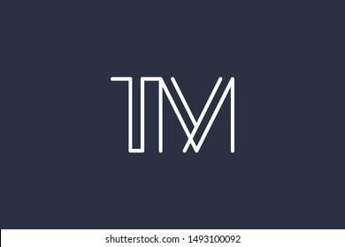Creative Innovative Initial Letter logo TM MT. Minimal luxury Monogram. Professional initial design. Premium Business typeface. Alphabet symbol and sign.