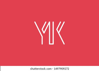 Creative Innovative Initial Letter logo YK KY. Minimal luxury Monogram. Professional initial design. Premium Business typeface. Alphabet symbol and sign.