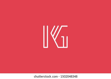 Creative Innovative Initial Letter logo KG GK. Minimal luxury Monogram. Professional initial design. Premium Business typeface. Alphabet symbol and sign.