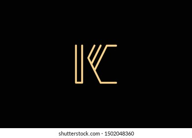 Creative Innovative Initial Letter logo KC CK. Minimal luxury Monogram. Professional initial design. Premium Business typeface. Alphabet symbol and sign.