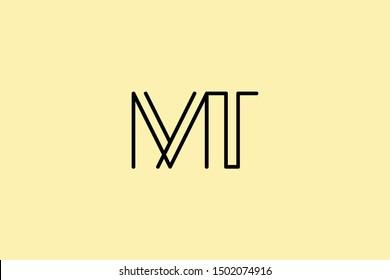 Creative Innovative Initial Letter logo MT TM. Minimal luxury Monogram. Professional initial design. Premium Business typeface. Alphabet symbol and sign.
