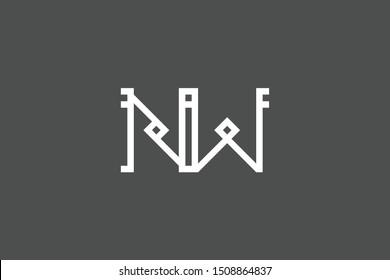 Creative Innovative Initial Letter logo NW WN. Minimal luxury Monogram. Professional initial design. Premium Business typeface. Alphabet symbol and sign.