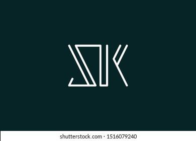 Creative Innovative Initial Letter logo SK KS. Minimal luxury Monogram. Professional initial design. Premium Business typeface. Alphabet symbol and sign.
