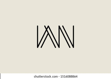 Creative Innovative Initial Letter logo WN NW. Minimal luxury Monogram. Professional initial design. Premium Business typeface. Alphabet symbol and sign.