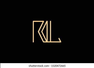 Creative Innovative Initial Letter logo RL LR. Minimal luxury Monogram. Professional initial design. Premium Business typeface. Alphabet symbol and sign.