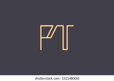 Creative Innovative Initial Letter logo PT TP. Minimal luxury Monogram. Professional initial design. Premium Business typeface. Alphabet symbol and sign.