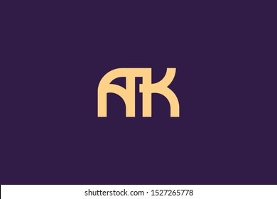 Creative Innovative Initial Letter logo AK KA. Minimal luxury Monogram. Professional initial design. Premium Business typeface. Alphabet symbol and sign.