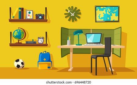 Creative interior. Room of child. Cartoon vector illustration