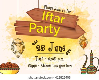 Beautiful invitation card decorated arabic lamp stock photo photo creative invitation card design with beautiful illustration of islamic ornaments for ramadan kareem iftar party stopboris Gallery