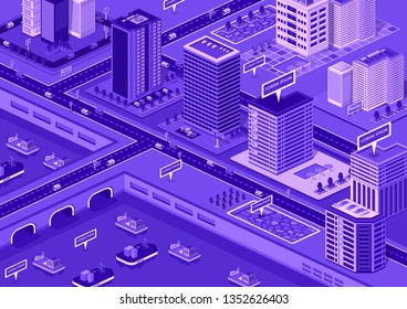 Creative isometric concept. 3d detailed buildings and city elements. Skyscrappers , streets and office centers.