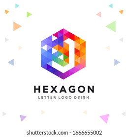 Creative J Letter Logo Colorful Mosaic and Hexagon Pattern Icon Design template Element for Your Company Business