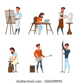 Creative jobs, careers flat illustrations set. Artist, writer, sculptor, musician, singer vector characters pack.