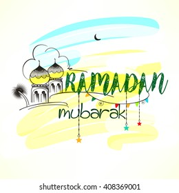 Creative and kiddish Ramadan Mubarak text with mosque scene on colorful background for Islamic Festival Ramadan Kareem.