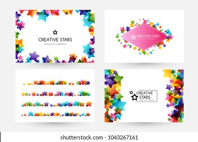 Creative kids design collection. Vector cards with colorful stars,  decoration elements. Horizontal backgrounds, dividers and rhombus frame.