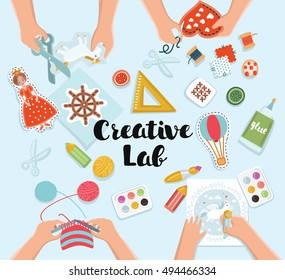 Creative kids lab, top view table with creative kids hands. Cutting paper, painting and sketching, knitting, embroidery, applique, sawing. Vector illustration of kids creative workshop
