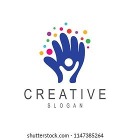 creative kids logo, happy kids logo, hand with kids logo