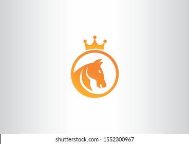 creative king of horses symbol logo design template