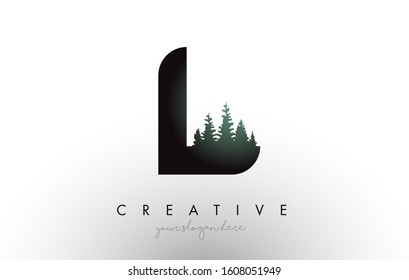 Creative L Letter Logo Idea With Pine Forest Trees. Letter L Design With Pine Tree on TopVector Illustration.