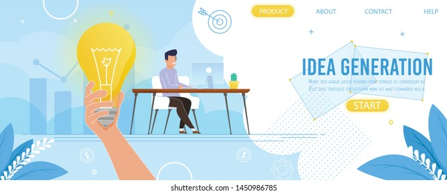 Creative Landing Page Presenting Idea Generation for Business and Profit Growth. Cartoon Man Character Sitting at Computer in Office. Metaphor Burning Light Bulb. Vector Flat Illustration