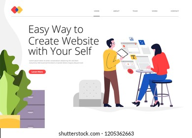 Creative landing page website design concept create your website with easy way. Vector illustrations. modern flat style.