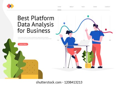 Creative landing page website design concept the best platform for data analysis for business. Vector illustrations. modern flat style.