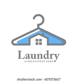 Creative laundry logo, label, template design full vector