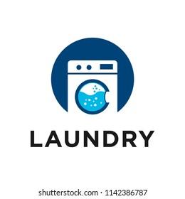 creative laundry machine logo design