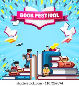 Creative layout of small character reading on stacks of books on blue background with banner Book Festival
