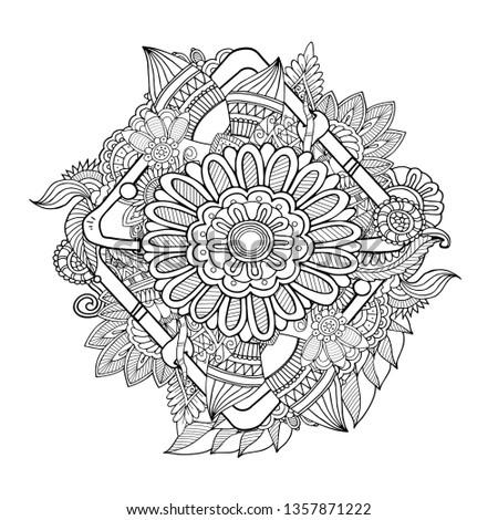 Creative Layout Zentangle Floral Equibana Mehndi Stock Vector
