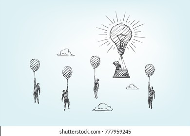 The creative leader takes off up on a large light bulb, while his friends are flying on small balloons. Vector business concept art illustration, hand drawn sketch.