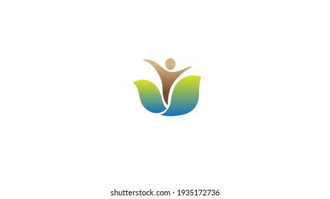 Creative Leaf Human Body Symbol Design Vector Logo