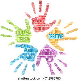 Creative with Learning Disability word cloud on a white background.
