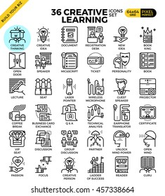 Creative learning outline icons modern style for website or print illustration