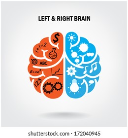 Creative left brain and right brain Idea concept background .vector illustration