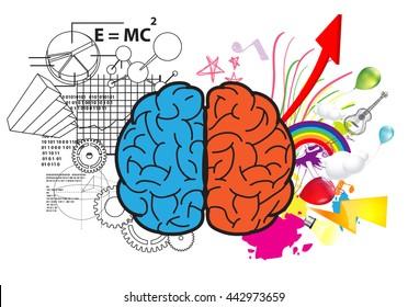Creative left brain and right brain Idea concept background