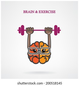 Creative left and right brain sign with the barbell on background ,design for poster flyer cover brochure.Education idea ,business idea .vector illustration