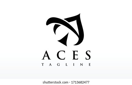 Creative Letter A Aces Logo Design Vector Icon Illustration.