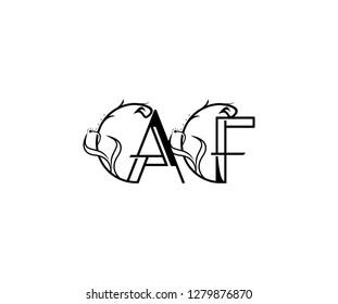 creative letter AF rounded shape monogram flourishes ornament logotype