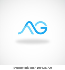 Creative letter ag with wave looks logo designs